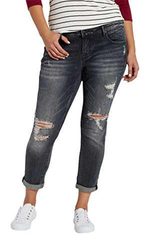 f2991fe6331 hot sale 2017 Maurices Women s Vigoss Plus Size Skinny Ankle Crop Tomboy  Jeans With Destruction In