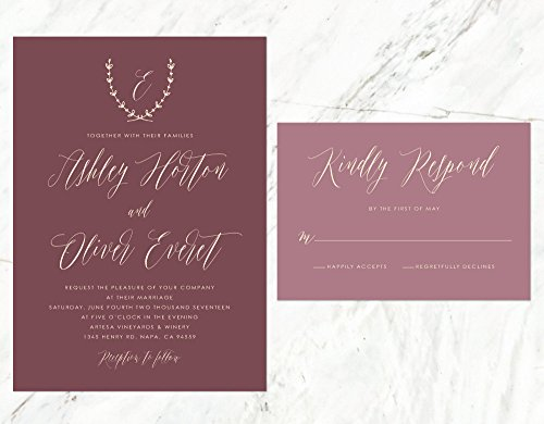 Rustic Wedding Invitation, Vineyard Wedding, Tuscan Invitation, Burgundy Invitation, Marsala Invitation by Alexa Nelson Prints