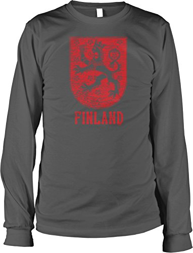 Hoodteez Finland Coat of Arms, Grand Duke of Finland Men's Long Sleeve Shirt, XL Char (Arms Of Coat Finnish)