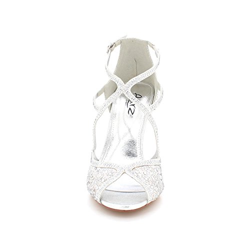 Peeptoe Zapatos Diamante Señoras De Mujeres Noche Plata Sandalias Bodas Tamaño Alto Nupcial Fiesta Prom Tacón HSwgn8qx