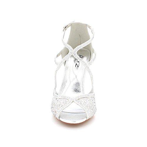 Mujeres Fiesta Noche Nupcial Diamante Tamaño Alto Sandalias Prom Bodas Plata Señoras Zapatos De Peeptoe Tacón raAqtExrwO