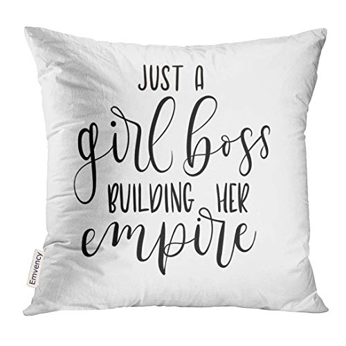 White Lettering (Golee Throw Pillow Cover Just Girl Boss Building Her Empire Inspirational Phrase Modern Feminism Quote White Lettering Decorative Pillow Case Home Decor Square 18x18 Inches Pillowcase)