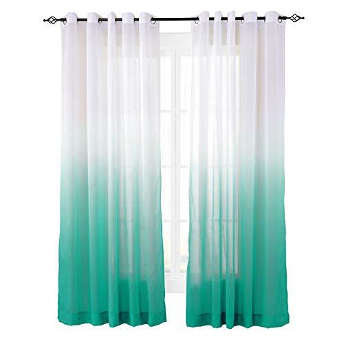 ChadMade Indoor Outdoor Gradient Ombre Sheer Curtain Nickel Grommet Teal 84