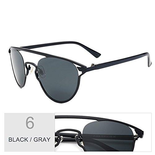 TIANLIANG04 Piernas Para Reflejo Gray Marrón Anti Oro Puente Gafas Gafas Black Eye Gafas De Cat De Tr90 Uv400 Doble Atrás Sol Mujer nrr0PF