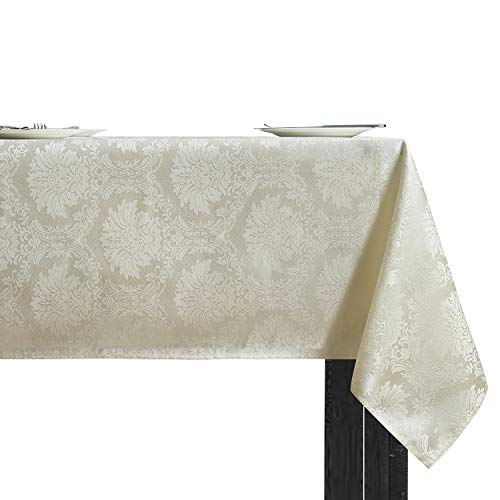 Vaulia Decorative Rectangle Tablecloth, Jacquard Weave Damask Pattern, Beige/Ivory - 60 x 102 in.