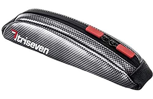 TriSeven Carbon Aero Bag 10Cycling Frame BagLong Distance Triathlon BagMTB Bag0,4L CapacityTop Tube BagBike Accessories6 Gels Pump Wallet4 Straps or 2 Bolts100% (Silver)
