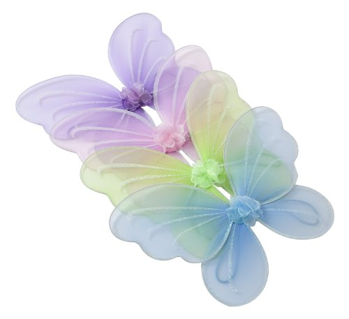 Girls Butterfly, Fairy, And Angel Wings For Kids. For Garden Parties, Birthday Favors, Halloween Costumes, And More. Set of 4. Multi (Make Believe Fancy Dress)