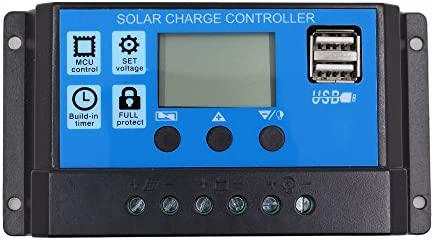 SODIAL 10A 12V 24V Auto Arbeit PWM Solar Laderegler mit LCD Dual USB 5V Ausgang Solar Cell Panel Ladegeraet Regulato