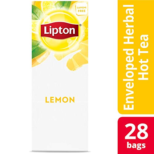 Lipton Lemon Enveloped Hot Tea Bags Herbal Caffeine Free, 28 count, Pack of 6