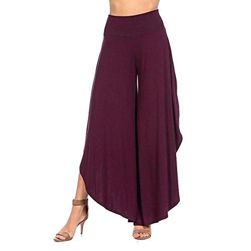 Donna Pantaloni yoga vita alta - Hibote Donne Pantaloni casual a tinta unita Bloomers Pantaloni stoffa morbidi e confortevoli Pantaloni Harem allentati split sexy Pantaloni estivi Viola