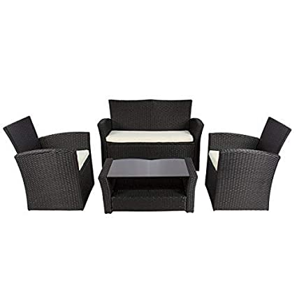 db6aa2ef0ac Amazon.com   Best Choice Products 4pc Outdoor Patio Garden Furniture Wicker  Rattan Sofa Set Black   Garden   Outdoor