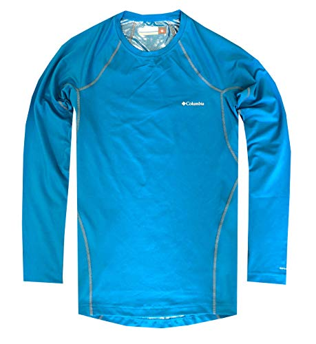 Columbia Mens Midweight Omni-Heat Long Sleeve T-Shirt (L, Blue) (Ski Tshirts Men)