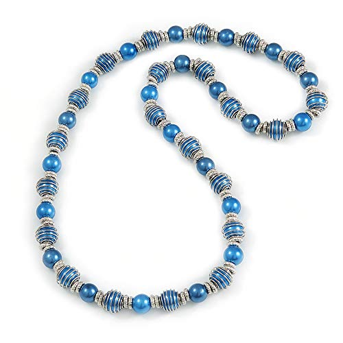 (Avalaya Blue Glass Bead with Silver Tone Metal Wire Element Necklace - 70cm Long)