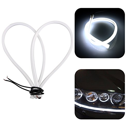 LinkStyle 2pcs White Color Headlight Flexible LED Tube Strip Light DRL Daytime Running Light & Turn Signal Lamp For Audi-Style Headlight 23inch/60CM