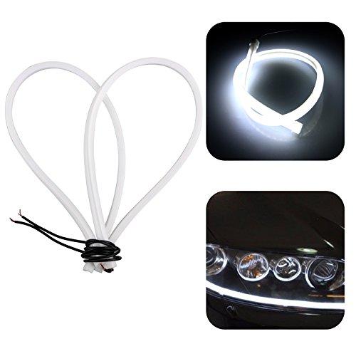 LinkStyle 2pcs White Color Headlight Flexible LED Tube Strip Light DRL Daytime Running Light & Turn Signal Lamp For Audi-Style Headlight 23inch/60CM