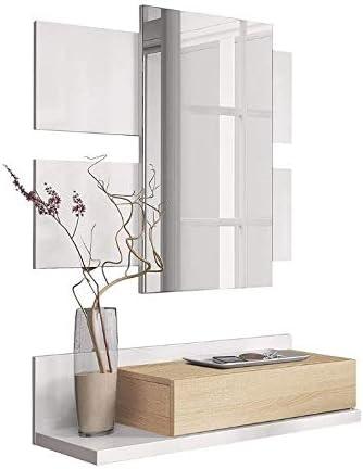 0900 Mobelcenter Recibidor con caj/ón y Espejo Mueble de Entrada Color Roble Canadian y Blanco Artik Mueble de Recibidor Estilo Moderno Medidas: Ancho: 75 cm x Alto: 116 cm x Fondo: 29 cm -