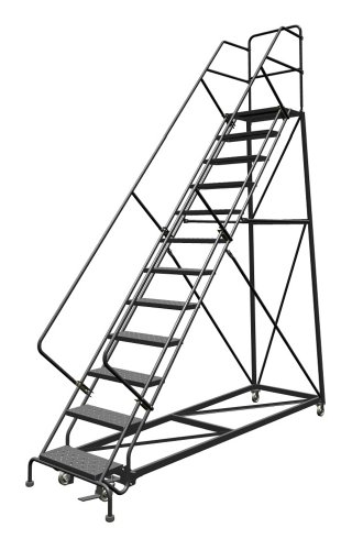 Tri-Arc KDEC112246 12-Step Forward Descent Safety Angle Steel Rolling Industrial and Warehouse Ladder with Perforated Tread, 24-Inch Wide Steps
