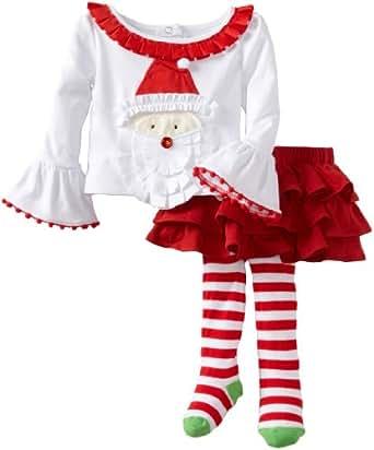 Mud Pie Baby Girls' Santa Ribbon Skirt Set, Multi Colored, 0 6 Months