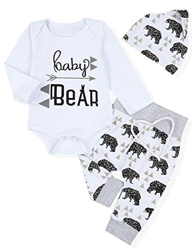 Newborn Baby Boys Clothes Baby Bear Long Sleeve Elephant Print Pants Outfit Sets + Hat(0-3months) -