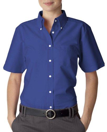 UltraClub 8973 Ladies Classic Wrinkle-Free Short-Sleeve Oxford Shirt - French Blue, (Ladies Classic Oxford Shirt)