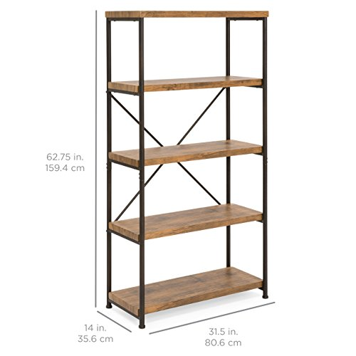 Best Choice Products 4-Tier Rustic Industrial Bookshelf Display Décor Accent for Living Room, Bedroom, Office w/Metal Frame, Wood Shelves - Brown by Best Choice Products (Image #6)