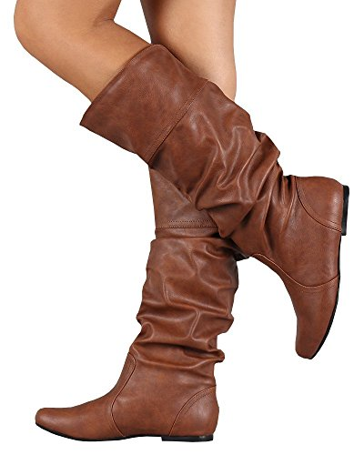 FISACE Womens Wide Calf Mid Calf Faux Leather Scrunch Flat Riding (Womens Brown Mid Calf Boots)
