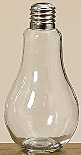 Jarrón Florero de Cristal Transparente en Forma de Bombilla Alto 22 cm