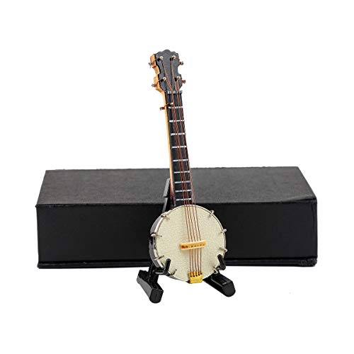 "Seawoo Miniature Banjo with Stand and Case Mini Musical Instrument Collectible Mini Banjo Replica Miniature Dollhouse Model Christmas Ornament (3.94""x1.31""x0.55"")"
