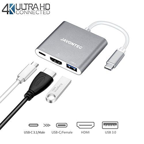 USB C HDMI Adapter,JAVONTEC Multiport Type C Hub with 4K HDMI,USB 3.0 Port and Power Delivery,USB Type C To HDMI Adapter for MacBook Pro,Google Chromebook,HP Spectre,Samsung S8/S8Plus(Grey) (Usb Packard Hewlett Hub)