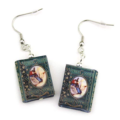 Mother Goose Nursery Rhymes Clay Mini Book Hypoallergenic Earrings by Book Beads ()