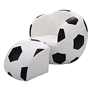 Costzon Kids Sofa Chair & Ottoman Children Armchair w/Footstool (Football)