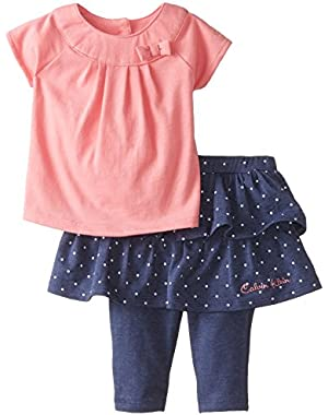 Baby-Girls Newborn Pink Top with Denim Skeggings