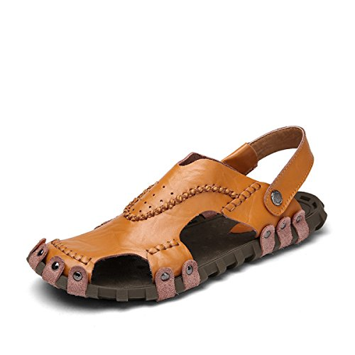 DFB Breathable Casual Sandals Comfortable Breathable Men's Shoes Leather Slippers Slippers For Women,Brown-44
