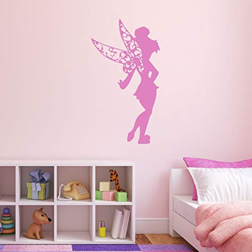 (Tinkerbell Vinyl Wall Decal - Fairy, Peter Pan Themed Decor For Girls Room, Playroom, or Birthday Party - Pink, Purple, Other Colors)