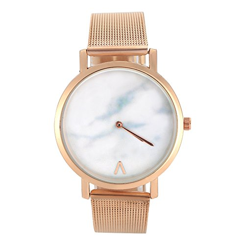 Watches for Women, Stainless Steel Mesh Round White Dial Analog Quartz Movement Watch Wristwatch (Rose gold)