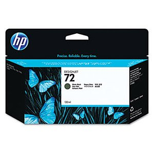 HP Genuine Brand Name, OEM C9403A (HP72) HP 72 Matte Black Ink Cartridge (130ML) for DesignJet T1100 Series, DesignJet T1120 Series, DesignJet T1200 Series, DesignJet T610 Series, DesignJet T620 Series, DesignJet T770 Series Printers