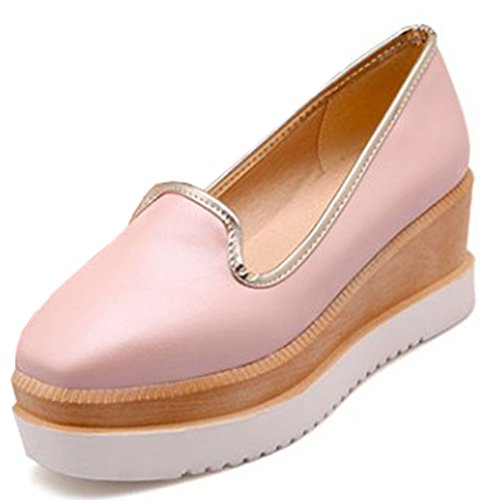 Idifu Womens Trendy Slip Op Wedge Platform Sneakers Met Hakken Lage Top Loafers Roze