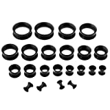 PiercingJ 22pcs 8G-3/4 Ultra Thin Silicone Double Flared Flexible Tunnel Ear Stretching Plug Gauge Kit - 11 Pairs