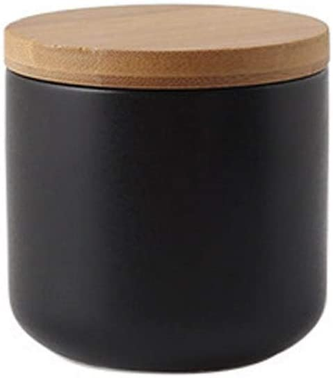 Ceramics Food Storage Jar Canister with Airtight Seal Bamboo Lid, Simple Style Kitchen Canister for Food Storage, Store Coffee, Sugar, Tea, Spices (Black ( 8.79oz/260ml ))