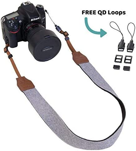 Quick Release Sling Grey Felt Morxy Camera Strap for Women Canon Nikon Sony Camera Accessories | DSLR Shoulder Neck Strap