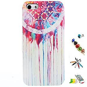 QJM Colored Water Pattern PU Leather Full Body Case with Card Slot and Stylus Anti-Dust Plug and Stand for iPhone 5/5S , White-Silver
