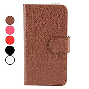 RC - Litchi Grain PU Leather Case with Card Slot for iPhone 5/5S (Assorted Colors) , Rose