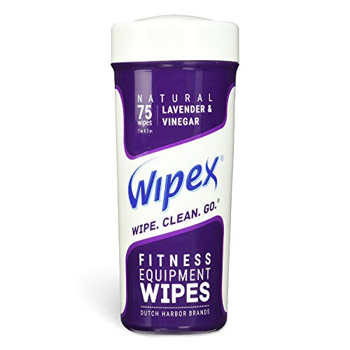 Wipex Natural Gym & Fitness Equipment Wipes, Vinegar & Lavender, 75ct Canister, Great for Yoga Mats, Pilates & Dance Studios, Home & Corp Gym, Peloton & Cycle Bikes, Spas