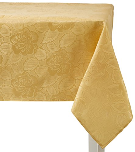 Regal Home Collections Laura Rose Damask Oblong (Rectangle) Tablecloth, 60-Inch Wide by 102-Inch Long, Gold