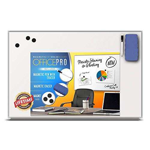 OfficePro Ultra-Slim, Lightweight Magnetic Dry Erase Board & Accessories (Includes Whiteboard Pen & Pen Tray, 3 x Magnets & Eraser) - 24 x 36 Inch (Renewed)