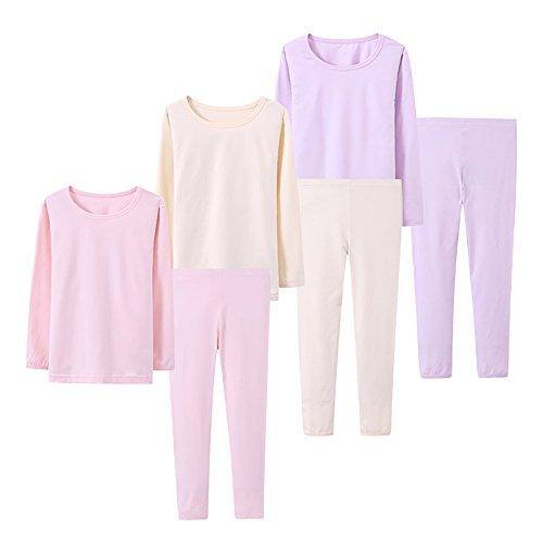 Abalacoco Big Girls Boys 3 Sets (6pcs) Cotton Longs sleeve Undershirts Autumn Winter Thermal Underwear Pants Suit 4-12T (Pink/Purpe/Beige,7-8 Years)