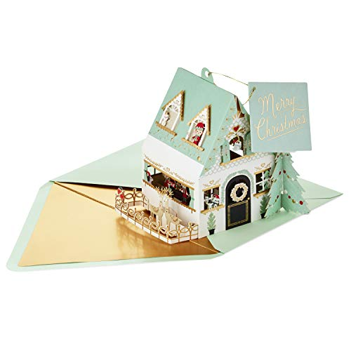 Hallmark Signature Pop Up Christmas Card (3D Santa's House Ornament) (Family Cards Personalized Christmas)