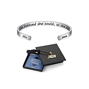 M MOOHAM Inspirational Graduation Gifts Cuff Bracelet – Engraved Inspirational Bracelet Cuff Bangle with 2021 Graduation…