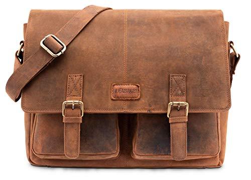 LEABAGS Cambridge shoulderbag crossbody bag laptop bag 15 inch of genuine leather in vintage style - ()