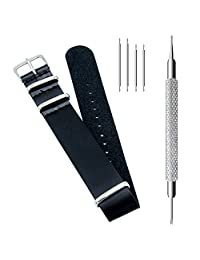 CIVO PU Leather NATO Zulu Military G10 Watch Band Strap 18mm 20mm 22mm with TOP Spring Bar Tool and Spring Bars Bonus (Black, 22mm)